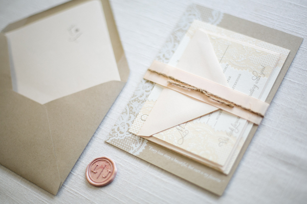 Kraft Paper Lace Wedding Invitations Ruby the Fox OSBP2 Lauren + Jeffs Lace and Kraft Paper Wedding Invitations