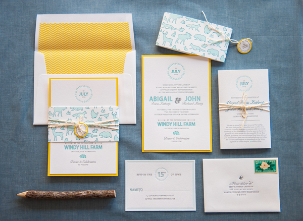 Rustic Letterpress Summer Wedding Invitations Gus and Ruby Letterpress OSBP Abbi + Johns Rustic Summer Wedding Invitations