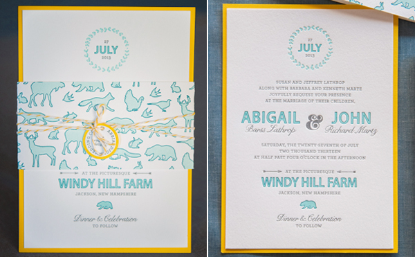 Rustic Letterpress Summer Wedding Invitations Gus and Ruby Letterpress OSBP5 Abbi + Johns Rustic Summer Wedding Invitations