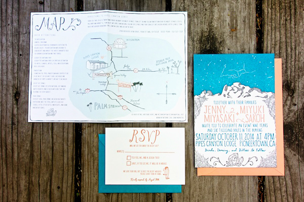 Shipwright Co Mountain Constellation Wedding Invitations OSBP8 Jenny + Miyukis Mountain Constellation Wedding Invitations