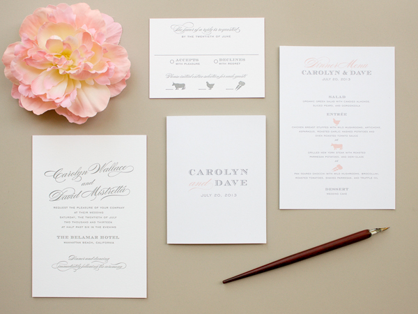 Traditional Romantic Wedding Invitations Banter and Charm OSBP2 Carolyn + Daves Traditional Romantic Wedding Invitations