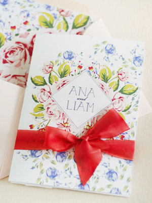 Soft Floral Wedding Invitations Umama OSBP13 Ana + Liams Soft Floral Wedding Invitations