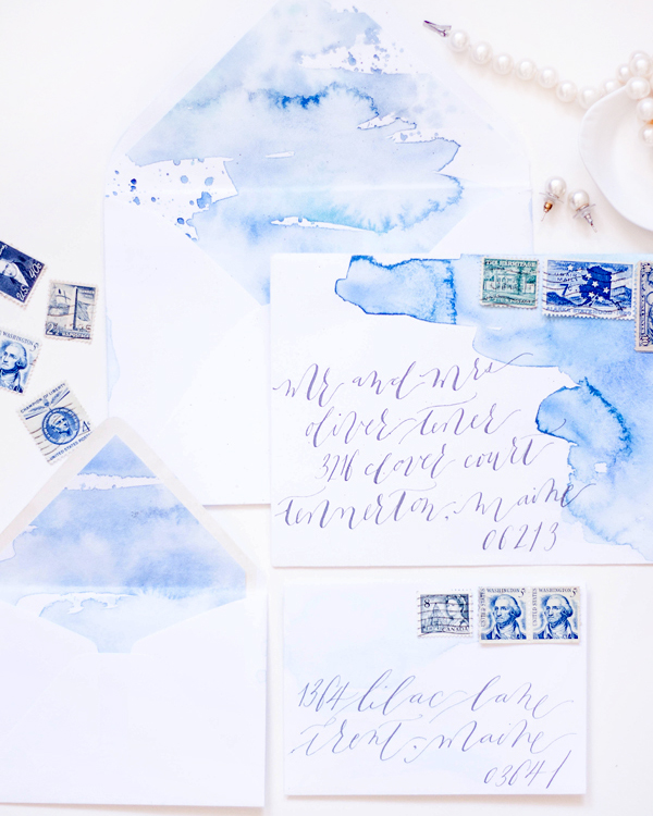 Blue Watercolor Calligraphy Wedding Invitations Moira Design Studio2 Chris + Saras Watercolor Calligraphy Wedding Invitations