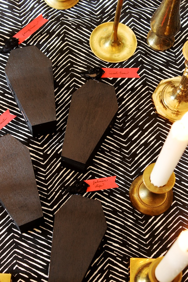 DIY Coffin Food Markers by OSBP 11 DIY Tutorial: Halloween Coffin Food Markers