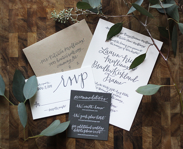 Rustic Calligraphy Wedding Invitation Goodheart Design OSBP Lauren + Bradleys Rustic Calligraphy Wedding Invitations