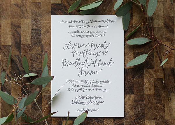 Rustic Calligraphy Wedding Invitation Goodheart Design OSBP16 Lauren + Bradleys Rustic Calligraphy Wedding Invitations