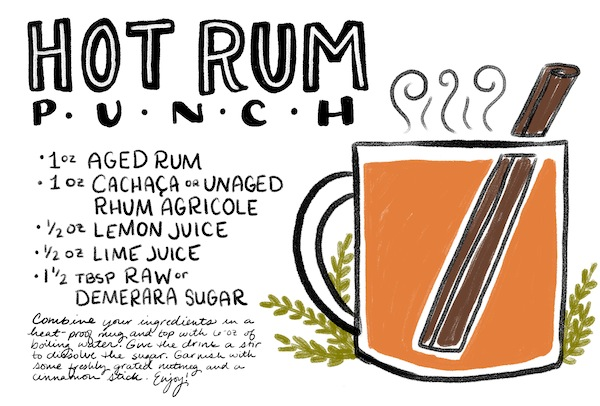 Hot Rum Punch Cocktail Recipe Card Shauna Lynn Illustration OSBP Friday Happy Hour: Hot Rum Punch