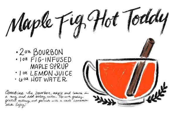 Maple Fig Hot Toddy Cocktail Recipe Card Shauna Lynn Illustration OSBP Friday Happy Hour: Maple Fig Hot Toddy