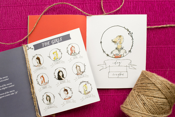 Modern Boho Illustrated Wedding Ceremony Program Atheneum Creative OSBP6 Lindsay and Ryans Illustrated Wedding Ceremony Programs