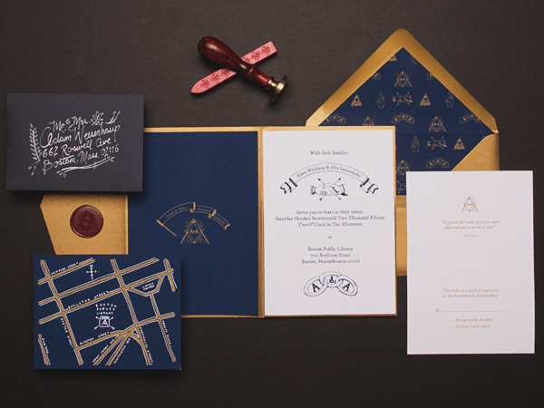 Secret Society Library Wedding Invitations Sparkvites OSBP Adam + Afras Secret Society Library Wedding Invitations