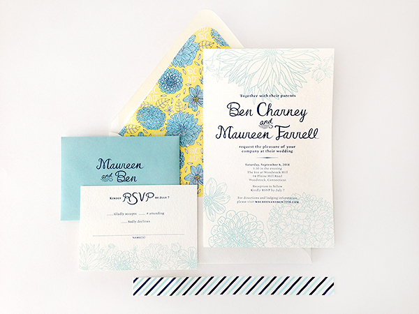 Yellow Blue Illustrated Dahlia Wedding Invitations Caitlin Keegan OSBP3 Ben + Maureens Floral Illustrated Wedding Invitations