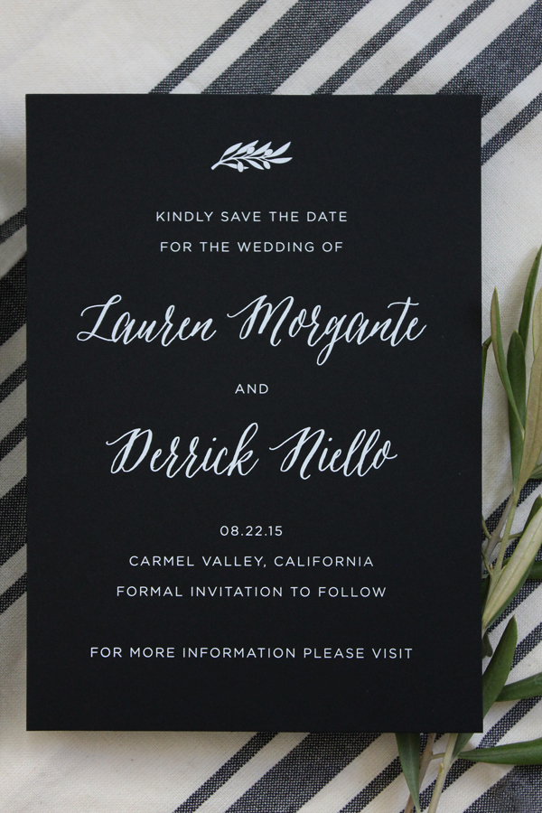 Modern Black and White Foil Save the Dates