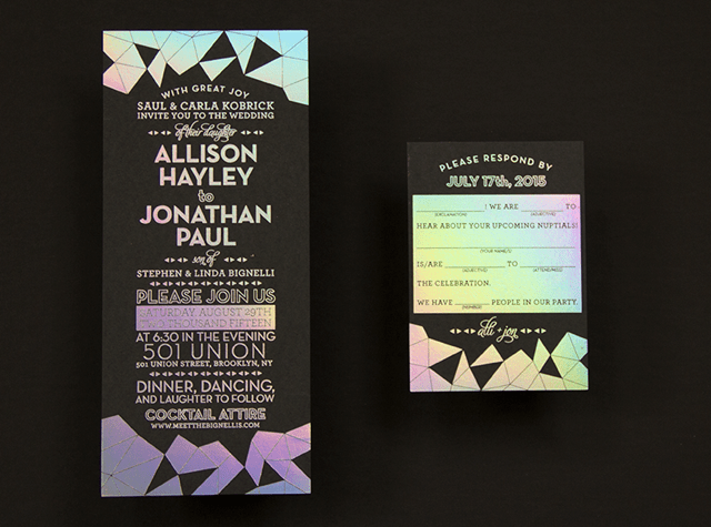Alli Jon39s Holographic Geometric Wedding Invitations