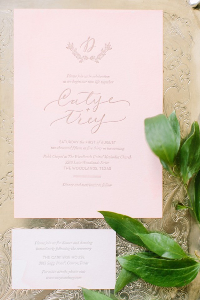 Elegant Dip Dyed Pink and Gold Wedding Invitations