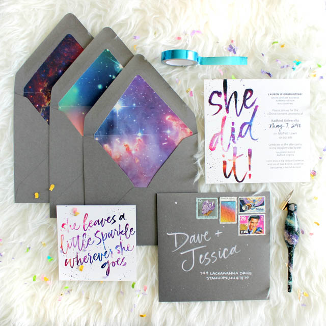 Galaxy-Inspired Graduation Announcements