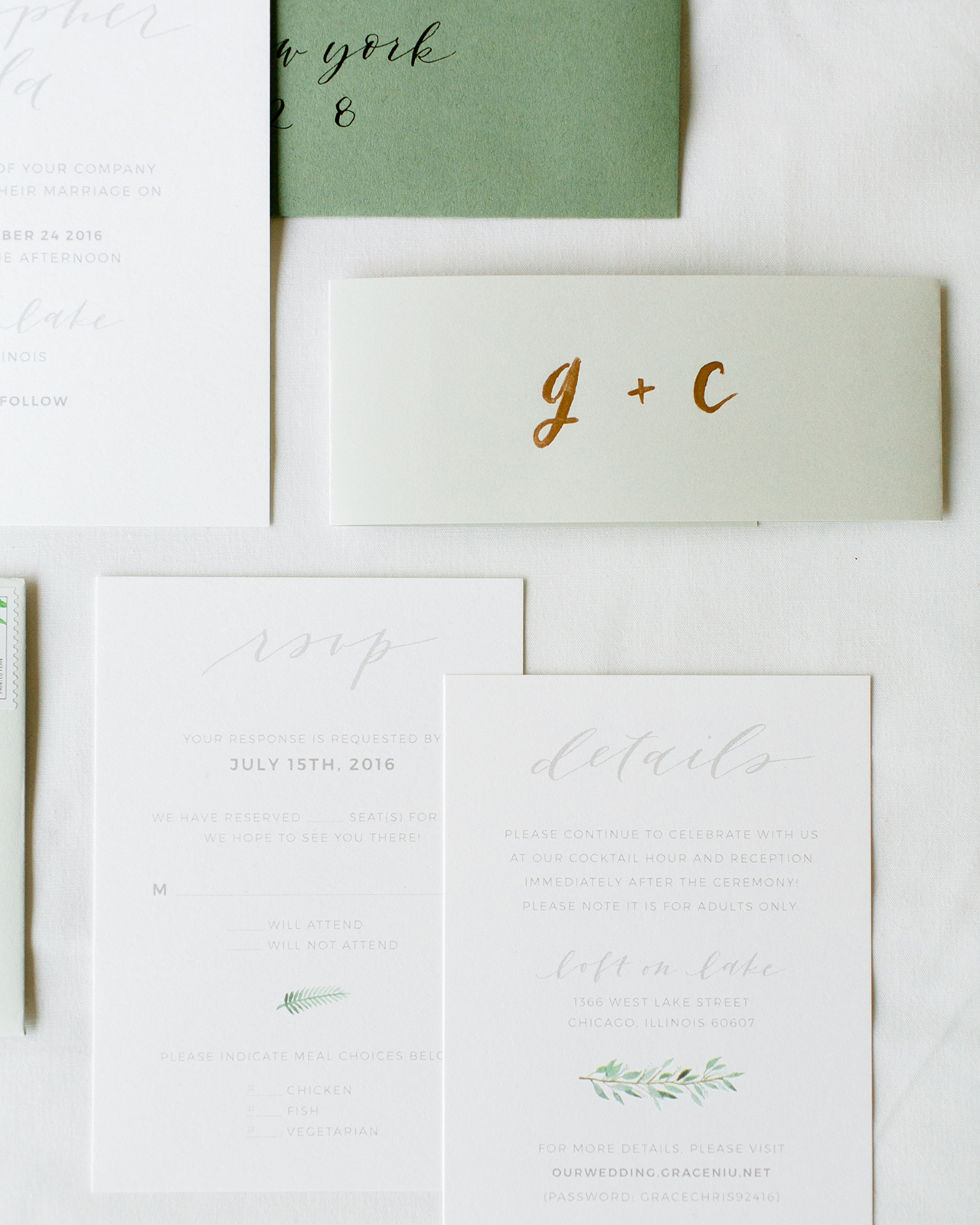 Wedding Calligraphy A Guide To Beautiful Hand Lettering Understated Green Calligraphy And Fern Wedding Invitations