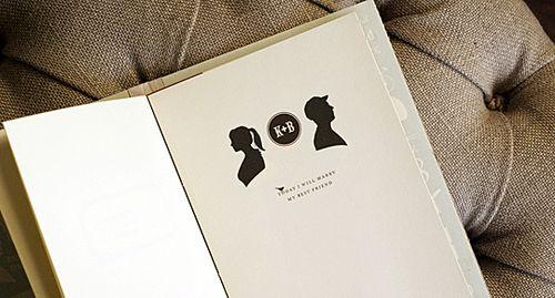 Katie + Ben\u0027s Silhouette Booklet Wedding Invitations