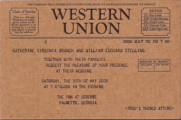 Telegram Postcard Wedding Invitations