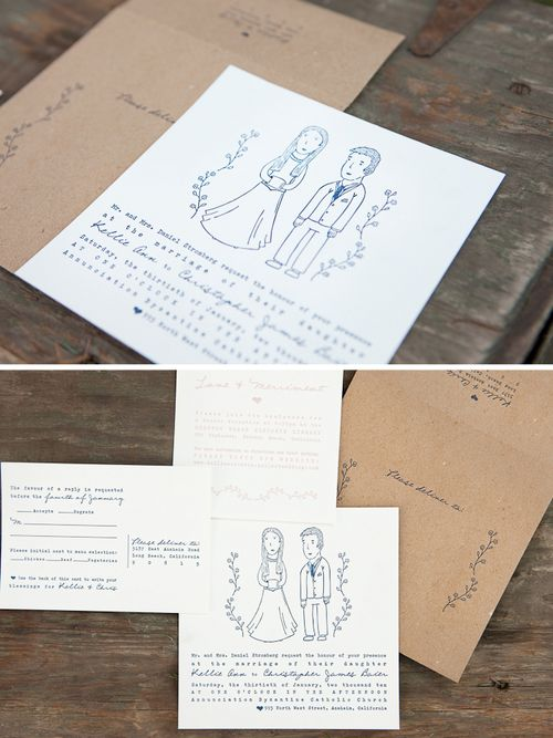 6a00e554ee8a2288330120a7546b86970b 500wi Kellie + Chriss Whimsical Illustrated Wedding Invitations