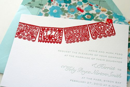 6a00e554ee8a2288330120a7840918970b 500wi Red + Aqua Papel Picado Wedding Invitations