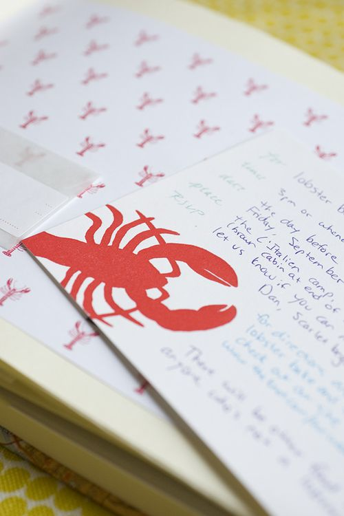 6a00e554ee8a2288330120a7f45afa970b 500wi Jen + Dan — Lobster Bake Rehearsal Dinner Invitations