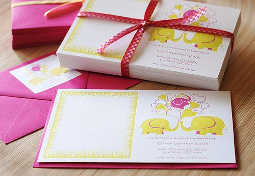 6a00e554ee8a2288330120a8fea626970b 500wi Pink + Yellow Elephant Baby Announcements