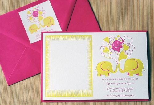 6a00e554ee8a2288330120a8fea691970b 500wi Pink + Yellow Elephant Baby Announcements