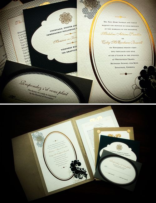 6a00e554ee8a22883301287659cd80970c 500wi Gilded Wedding Invitations with a French Twist