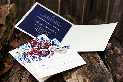 6a00e554ee8a22883301310f8a87b9970c 500wi Melissa + Georges Vibrant Folk Art Wedding Invitations
