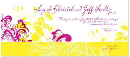6a00e554ee8a22883301347fd57266970c 500wi Sarah + Jeffs Modern Floral Pink and Yellow Wedding Invitations