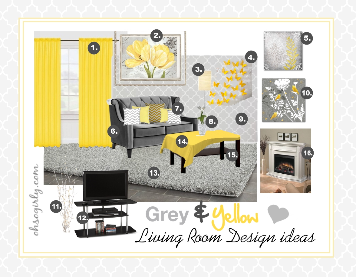 Yellow And Gray Living Room Yellow And Grey Living Room Design Idea Oh So Girly