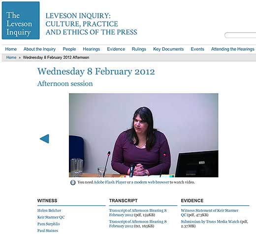 The Leveson Inquiry: Wednesday 8 February 2012, Afternoon session - click to go to this web page.
