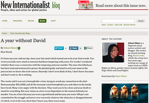 New Internationalist blog: A year without David - click to read this article.