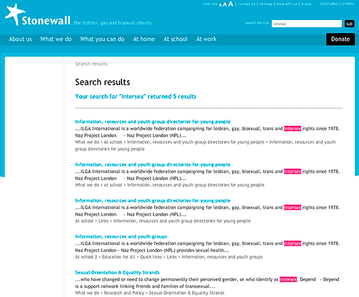 Stonewall, the lesbian, gay and bisexual charity: screenshot showing search results using search term intersex, March 11, 2012.