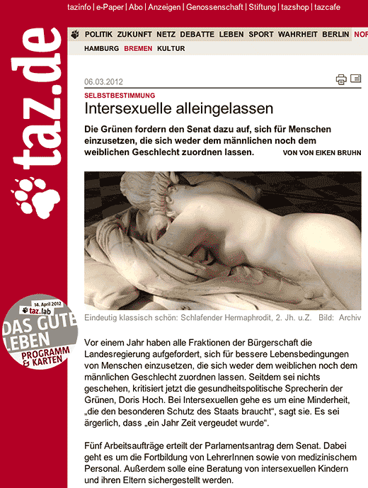 taz.de: Intersexuelle alleingelassen - click to read this article.