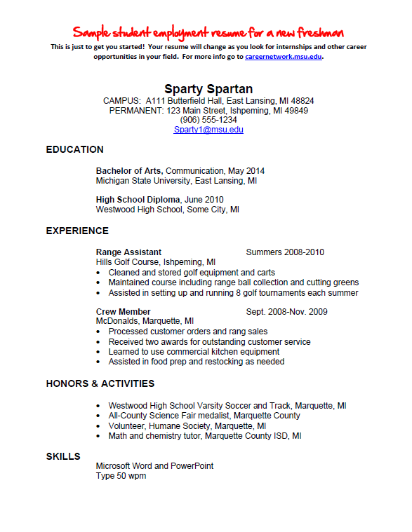 Resume Examples High School Sample For College Education Major Minor