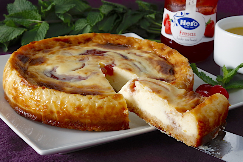 Tarta de queso y mermelada