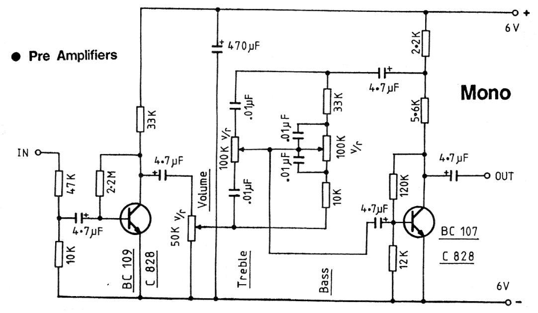 tone control circuit for guitar amplifier using 741