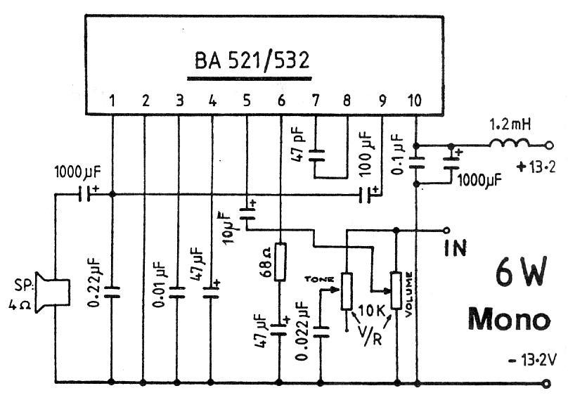 6w amplifier using ta7222ap