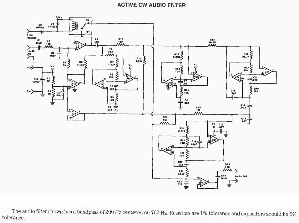 khz bandpass filter with high q circuit diagram