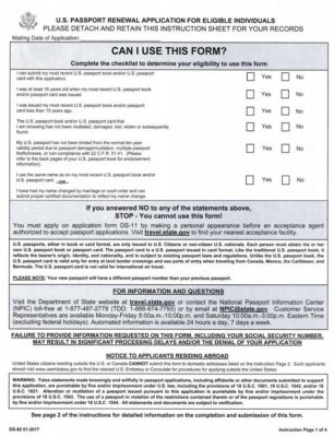 Guide How to Renew A US Passport, Step by Step Instructions - passport renewal application form
