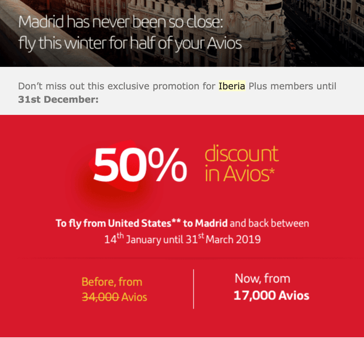 Miles And More Iberia Iberia Award Sale To Madrid Round Trip From 17k Avios Miles To