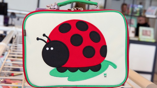 Beatrix Lady Bug lunch box, $37 at Uptown Kids in Classen Curve. (Shannon Cornman)