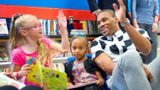 "Russell Westbrook stops into ""Russell's Reading Room"" to read books with children at North Highland Elementary. (Shannon Cornman)"