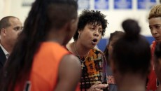 Cheryl Miller pushed her team during a timeout in Langston's first game of the  new season. (Lauren Hamilton)