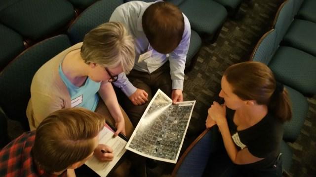 A small group shares ideas for improving Classen Blvd. during a forum on Jan. 28, 2015. (Ben Felder