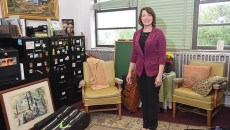 Rhonda Taylor, the OKC Public School system's director of fine arts, in her office surrounded by instruments and other things related to ART, at the OKCPS Aministration Building.  mh