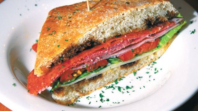 The Italian Sandwich on focaccia bread, at Cafe Plaid on Campus Corner in Norman.  mh
