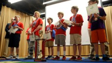 Cleveland Elementary's Odyssey of Mind team, Bobby Cochrane, Jordan Keast, Ryan McLaughlin, Drew Marshall, Noah Reid, and Ian Oswald receive their trophy for placing first in the world finals, Friday, May 29, 2015.  The team shared stories from their trip.  (Garett Fisbeck)