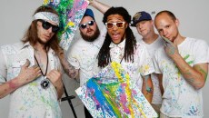 Rodrick Malone, Igloo Panda, HuckWheat, Trill Collins, and Tedajet of Sativa Prophets pose for a photo at Studio XII in Oklahoma City, Tuesday, May 26, 2015.  (Garett Fisbeck)
